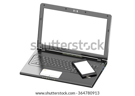 Laptop and smartphone with white screen isolated on white background