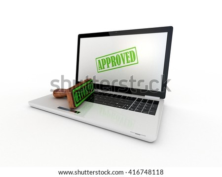 Laptop and stamp approved on screen, 3D rendering - stock photo