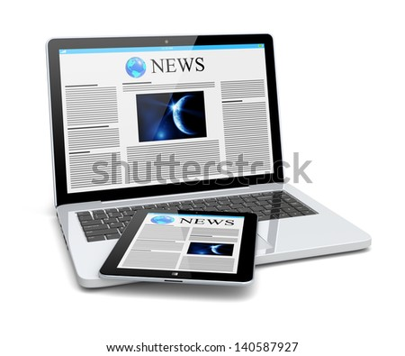 Laptop and tablet pc computer with news page on a screen. Technology and science concept. 3d image