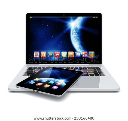 Laptop and tablet pc computer with space dawn wallpaper and apps on a screen. The Earth texture of this image furnished by NASA.  - stock photo