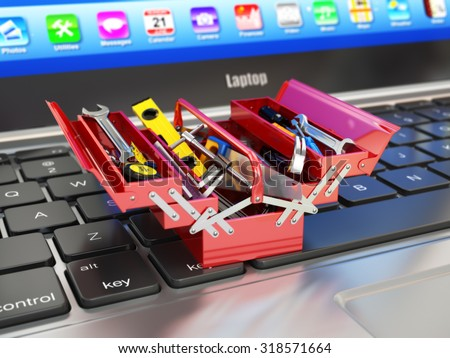 Laptop and toolbox with tools. Online support. 3d - stock photo