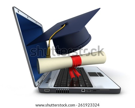 Laptop and trencher, diploma on white background (done in 3d) - stock photo