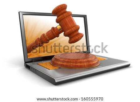 Laptop and Wooden Mallet (clipping path included) - stock photo