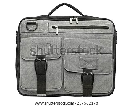 Laptop bag of grey fabric on a white background - stock photo