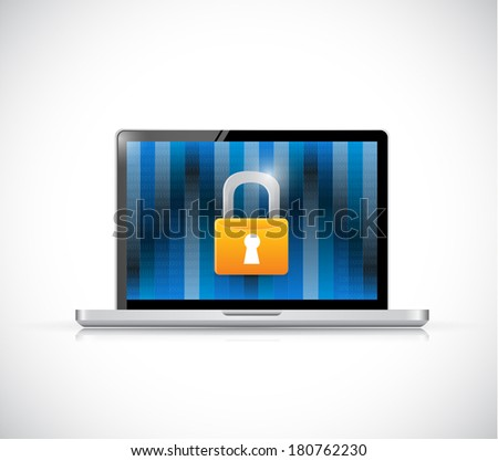 laptop binary and security lock illustration design over a white background - stock photo