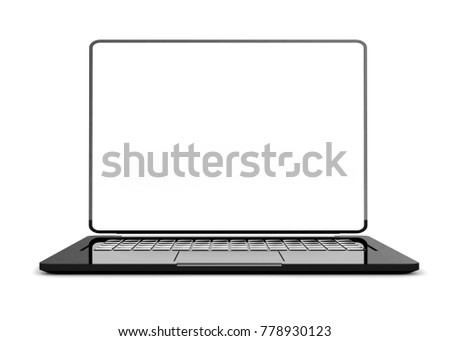 Laptop black color with blank screen isolated and clipping path on white background. 3d render.