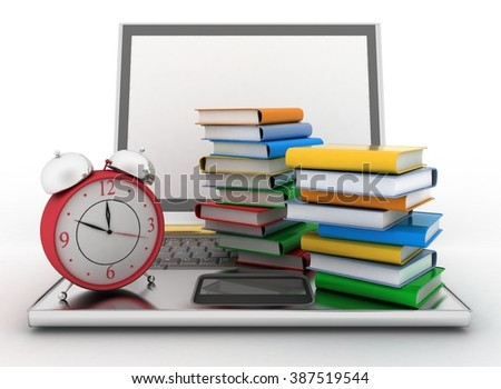 Laptop, books and clock. 3d illustration on white background