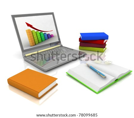 Laptop, books and other instruments for office work