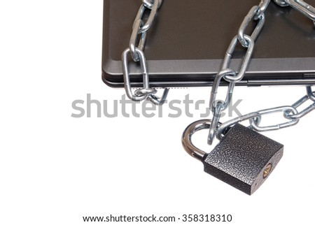 laptop, bound in a chain with a closed lock on white background. Data protection.