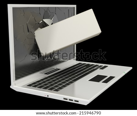 Laptop. broken screen. isolated on black background. 3d - stock photo