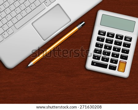 laptop, calculator and pencil lying on wooden desk with place for text - stock photo
