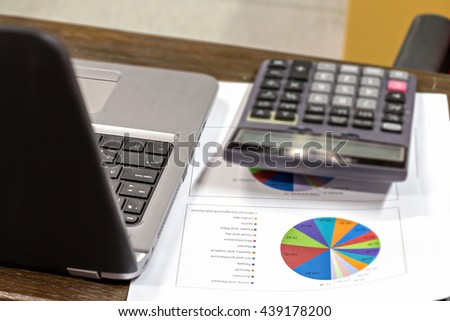 Laptop, calculator and report paper on vintage office wooden desk with selective focus