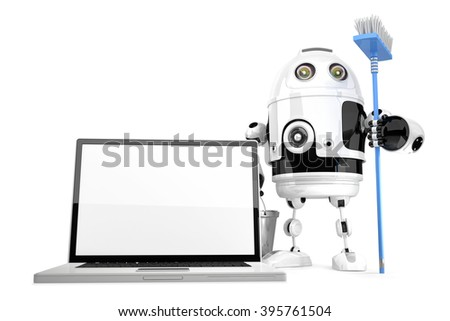 Laptop cleaning concept. Robot cleaning laptop with a mop. Isolated over white. Contains clipping path.3D
