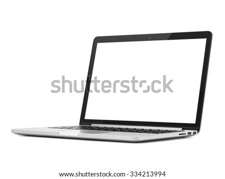 Laptop close-up on white background, isolated - stock photo