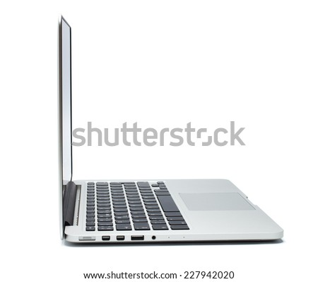 Laptop closeup on white background