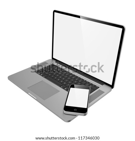 Laptop Computer and Mobile Phone on White Background. - stock photo