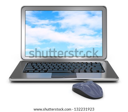 laptop computer and mouse isolated on white. 3d rendered image