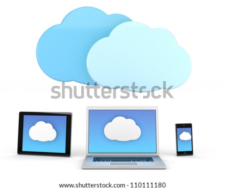 laptop computer and tablet pc and smart phone with cloud icon - high quality 3d illustration - stock photo
