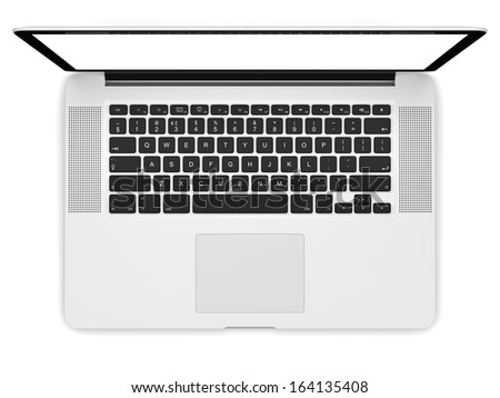 Laptop computer blank white screen isolated on white background viewed from top - stock photo