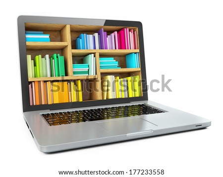 Laptop Computer Bookcase with Multicolor e-books isolated on White Background. E-learning education or internet library - stock photo