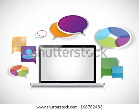 laptop computer colorful communication illustration design over a white background