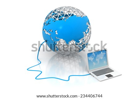 Laptop computer  Devices connected to digital  world - stock photo