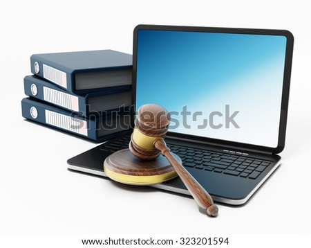 Laptop computer, gavel and folders isolated on white background