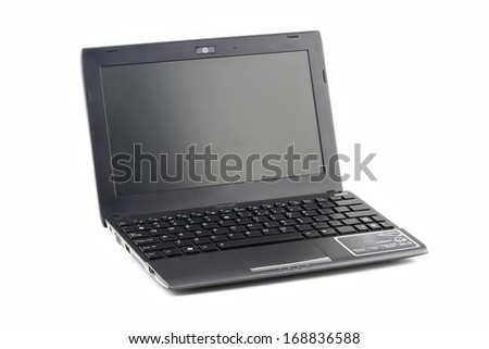 Laptop computer isolated on a white background. - stock photo