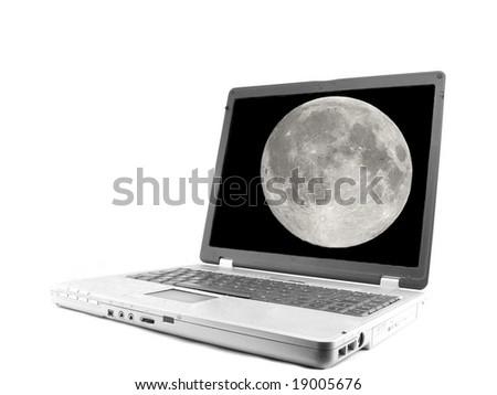 Laptop computer isolated on white, moon - stock photo