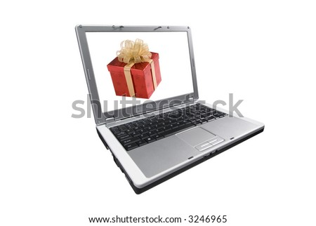 laptop computer, isolated on white,wrapped present on the screen,red box with gold bow