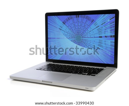 Laptop computer isolated over white background - stock photo