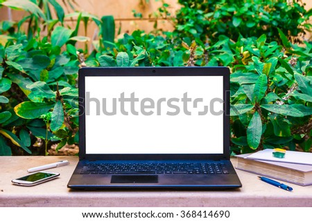 Laptop Computer Mock Up With Beautiful Pencils On Wood Texture In Garden,  Right Of Frame
