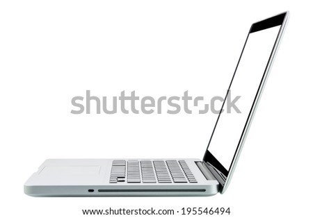 Laptop computer notebook isolation white display on over white background - stock photo