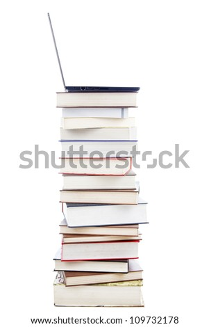 Laptop Computer on Stack of Books. shot in studio isolated on white