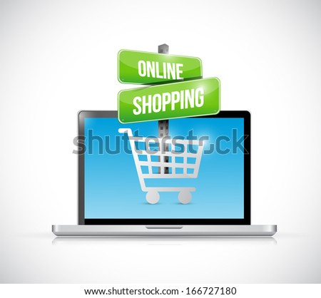 laptop computer online shopping sign illustration over a white background - stock photo