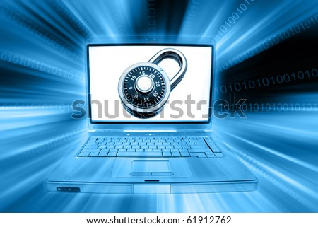 Laptop computer, padlock and codes