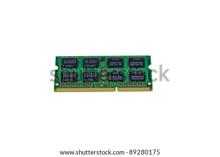 Laptop computer RAM chip isolated on white