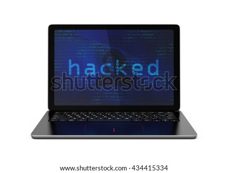 Laptop computer screen showing under hacker's attack. Computer security concept. 3D rendering image with clipping path. - stock photo