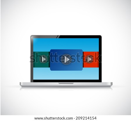 laptop computer video display illustration design over a white background - stock photo