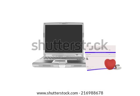 Laptop computer with blank black screen blank prescription, red heart and stethoscope isolated on white background