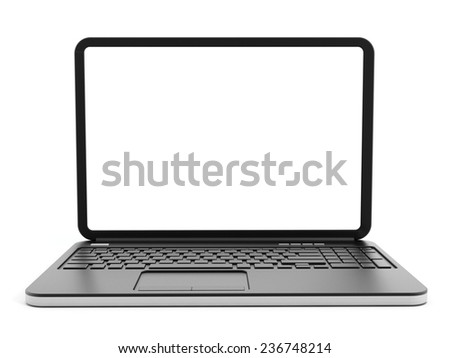 Laptop computer with blank screen isolated on white background. - stock photo