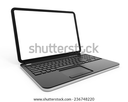 Laptop computer with blank screen isolated on white background.