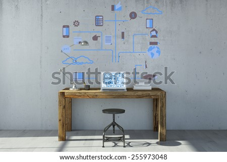 Laptop computer with cloud computing concept on the wall and the monitor (3D Rendering) - stock photo