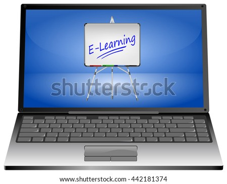 Laptop Computer with E-Learning - 3D illustration - stock photo