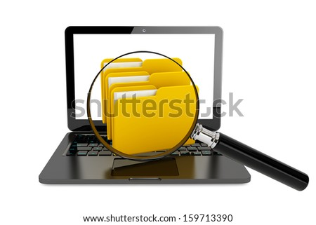 Laptop computer with folders and magnifier on a white background - stock photo