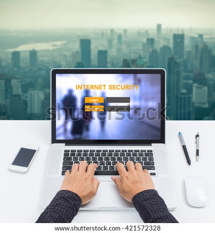 Laptop computer with internet security login on screen - stock photo