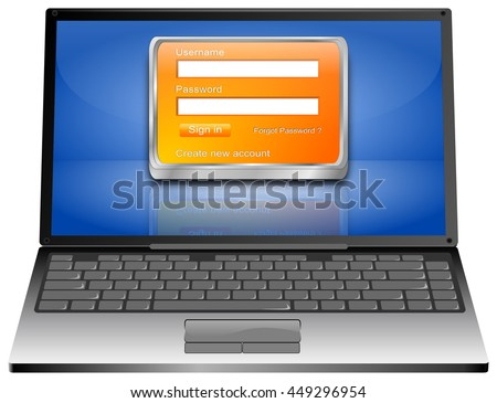Laptop Computer with Login Screen - 3D illustration