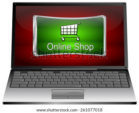 Laptop Computer with online Shop Button - stock photo