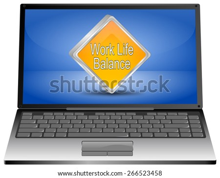 Laptop computer with Work Life Balance button - stock photo