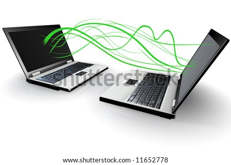 Laptop Computers communicating with green waves